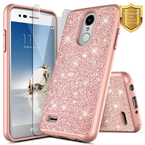 LG Aristo Case, K8 2017 /Phoenix 3 /Fortune/Rebel 2 LTE/Risio 2 /K4 2017 Case w/[Screen Protector HD Clear], NageBee Glitter Sparkle Shiny Bling Protective Shockproof Girls Cute Case - Rose - Metallic Access Case Lg Lte