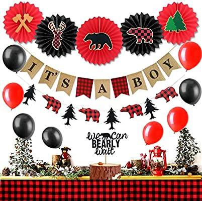 Lumberjack Baby Shower Birthday Party Banner Buffalo Timber Plaid Party Decoration Pack of 2
