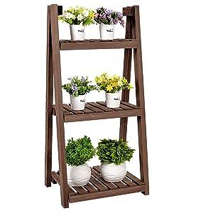 Foldable Ladder Shelf Wood Flower Rack 3 Tier Folding A Framde Plant Display Rack Storage Pot Stand Natural Wood for Plants Indoor Outdoor, 18'' L x 15'' W x 37'' H