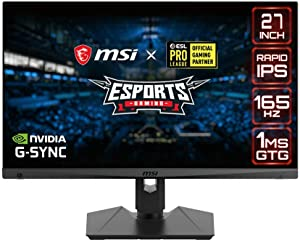 """MSI QHD Rapid-IPS Gaming Non-Glare Super Narrow Bezel 1ms 2560 x 1440 165Hz Refresh Rate Adjustable Arm G-Sync Compatible 27"""" Gaming Monitor (Optix MAG274QRF)"""