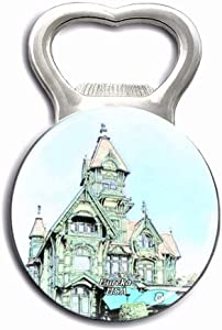 Jollin USA America Eureka Carson Mansion California Refrigerator Magnet Strong Bottle Opener Fridge Magnet Stickers Crystal Glass City Tourist Souvenirs Kitchen Whiteboard Decoration