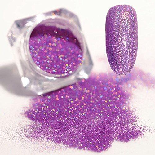 BORN PRETTY 1.5g Holographic Laser Powder Ultra-thin Shining Manicure Nail Art Glitter Powder Pink