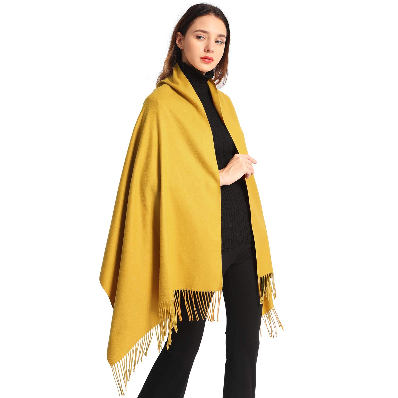 Women Soft Pashmina Scarf Large Cashmere Scarves Stylish Warm Blanket Solid Winter Shawl Elegant Wrap 78.5''x27.5'' (Yellow, Bag packing)