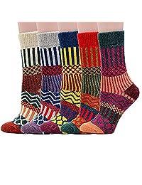 Womens Winter Warm Socks Vintage Style Thick Knit Wool Cozy Crew Socks, 5 Pairs