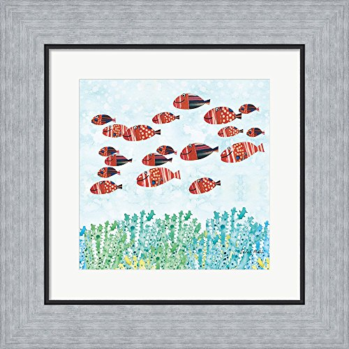 Redfish School by Sarah Millin Framed Art Print Wall Picture, Flat Silver Frame, 14 x 14 inches (Framed Redfish)