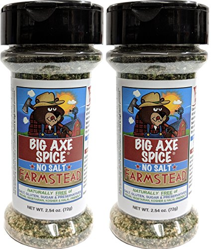 Big Axe Spice COMBO Farmstead 2-PACK: Sodium Free Vegetable Dip Seasoning Spice Blend/FREE of Salt, Sugar, Gluten and Preservatives ~ Vegetarian Vegan Paleo Kosher & Halal Friendly