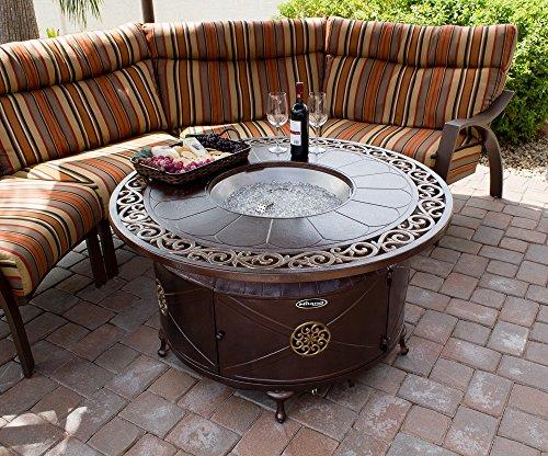 AZ Patio Heaters HIL-FP-1201 Round Cast Aluminum Decorative Fire Pit, Bronze, Includes Clear Fire Glass