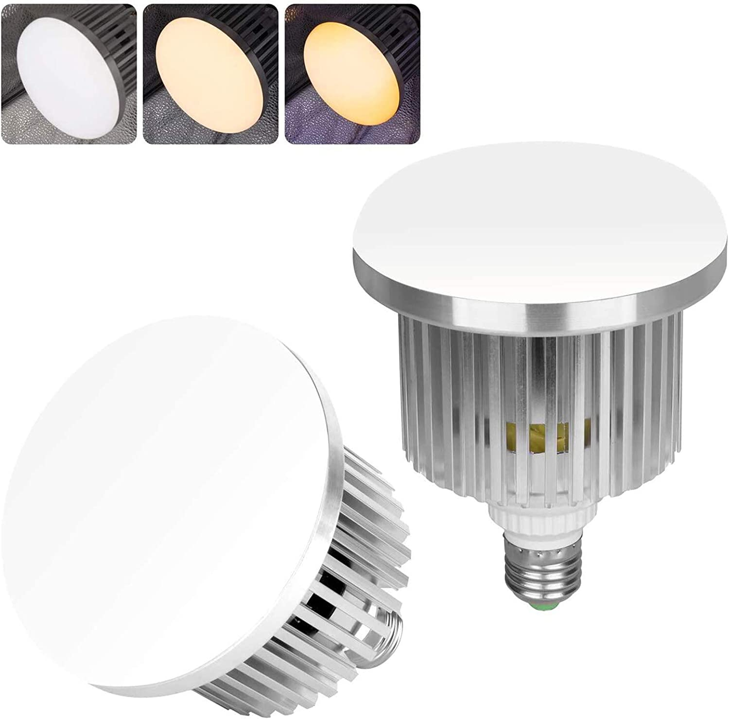 Emart Professional Photography Remote Control LED Light Bulb, Adjustable Color Temperature 3000k to 5500k Lighting Photo Studio Lamp with 3 Light Modes and 10 Brightness Levels - 2 pcs