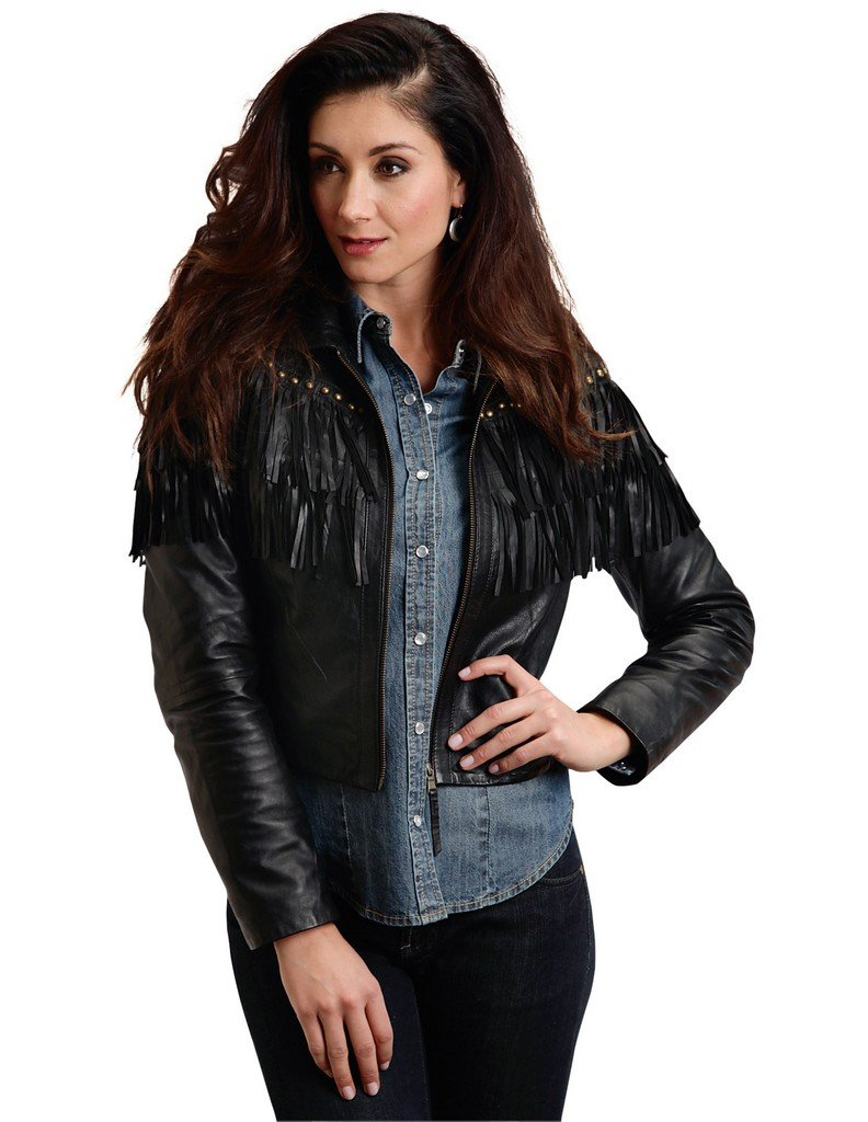 Black Fringed Leather Jacket Stetson Ladies Collection-oute (m) 11-098-0539-6663BL