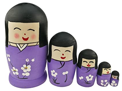 Winterworm Set of 5 Cute Japanese Kokeshi Nesting Dolls Matryoshka Madness  Russian Doll Popular Handmade Kids Girl Gifts Christmas Toy -Cherry Blossom