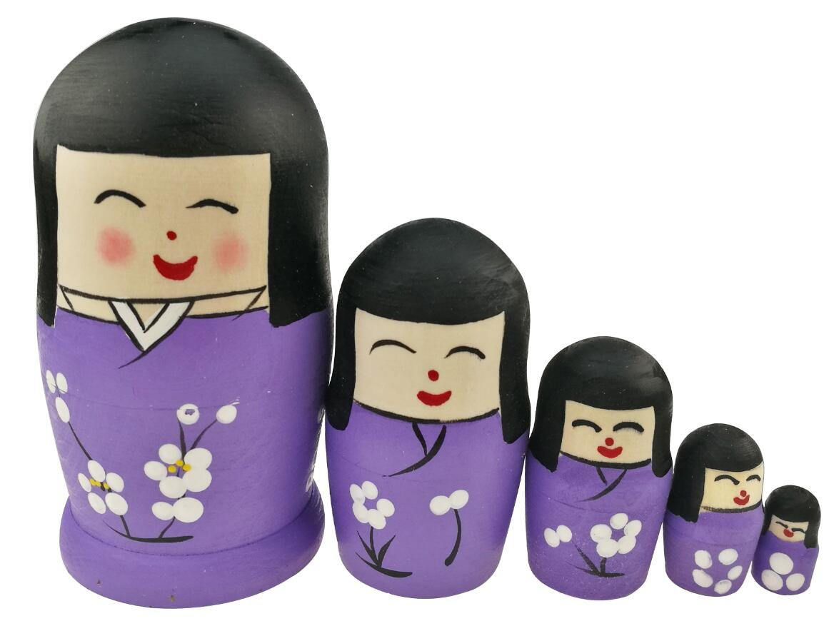 Winterworm Set of 5 Cute Japanese Kokeshi Nesting Dolls Matryoshka Madness Russian Doll Popular Handmade Kids Girl Gifts Christmas Toy -Cherry Blossom -Purple