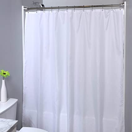SlipX Solutions Soft Woven Polyester Microfiber Shower Curtain Liner Works As Or