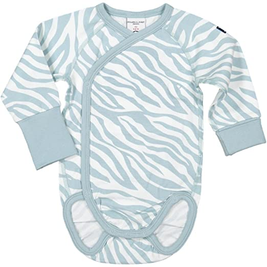 d2db3af698f Amazon.com  Polarn O. Pyret Zebra Stripe WRAP ECO Body (Newborn) -  Preemie Ethereal Blue  Clothing