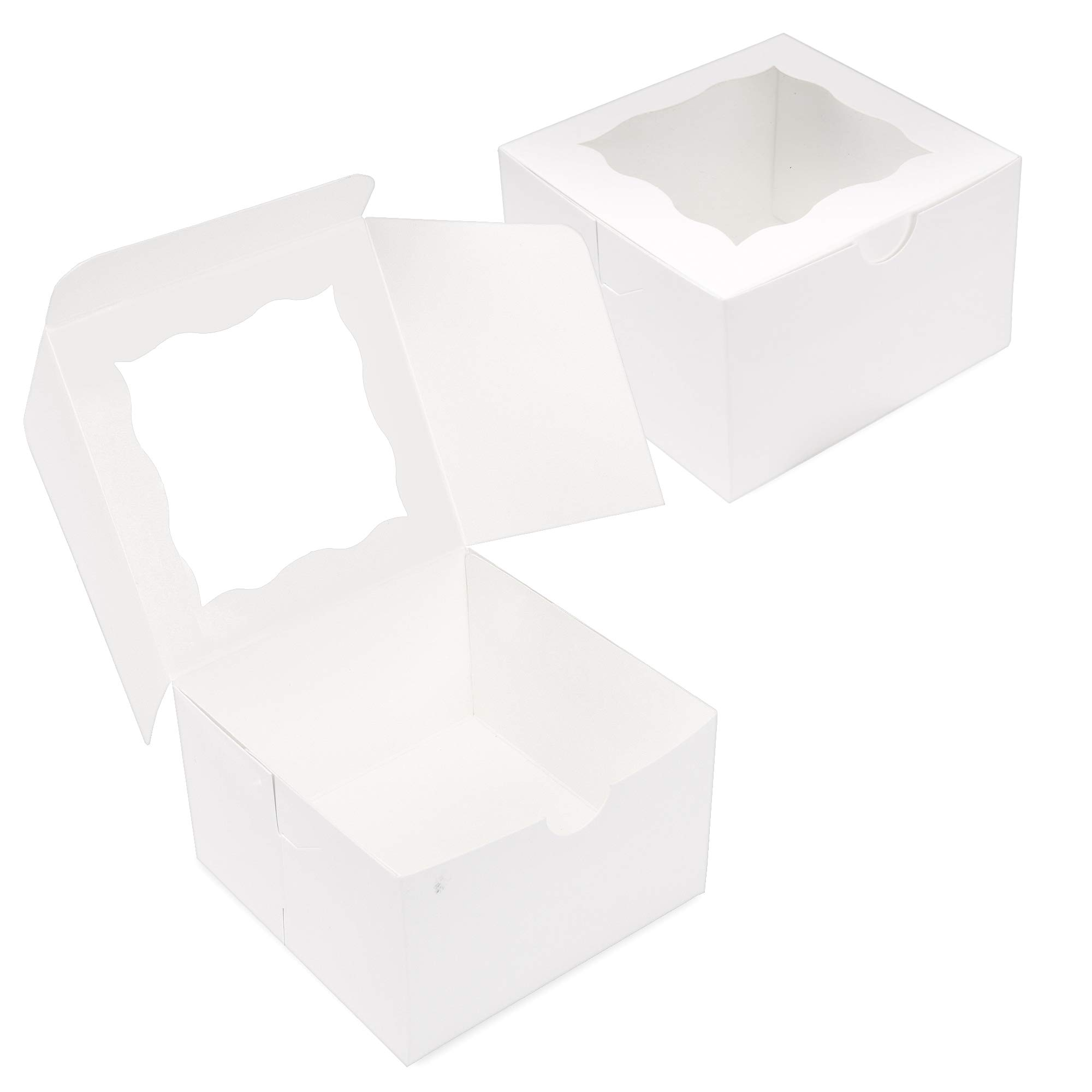 {Pack of 50} White Bakery Boxes with Window 4x4x2.5'' Cute Cardboard Gift Packaging Containers for Cookies, Cupcakes, Small Desserts, Pastry, Wedding Cake, Baby Showers, Donuts, Treats, Party Favors! by Surf City Supplies (Image #4)