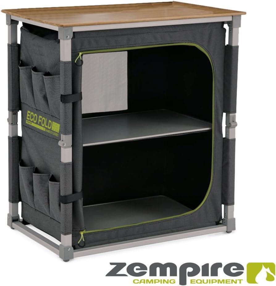 Zempire Armario de camping de diseño con una placa de bambú natural y resistente a la intemperie, totalmente plegable + extremadamente robusto, 2 ...