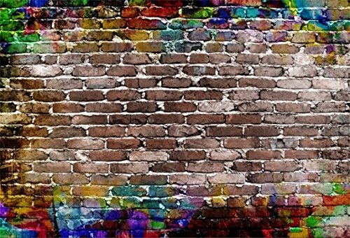 CSFOTO 5x3ft Background for Graffiti Colorful Brick Wall Photography Backdrop Retro Grunge Abstract Old Brick Wall Painting Hip Hop Birthday Party Decor Photo Studio Props Polyester Wallpaper -