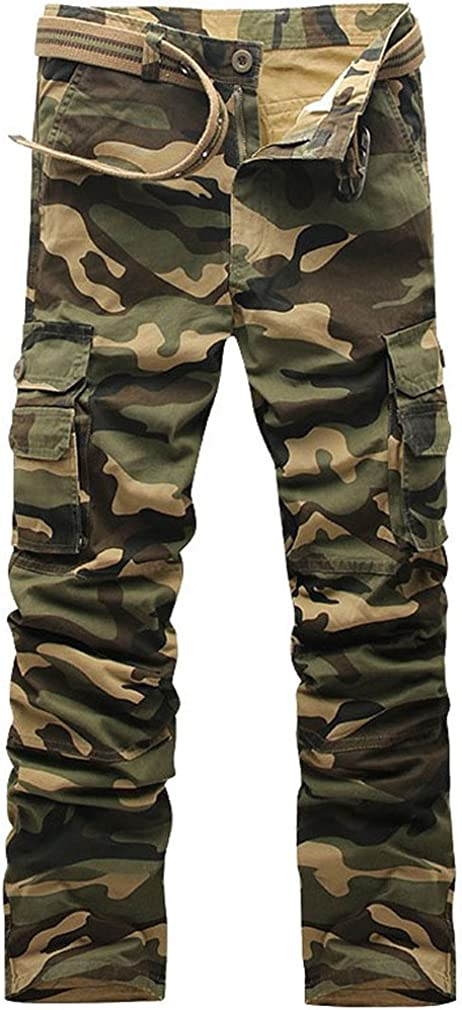 MSMIRROR Men Camouflage Pants Cotton Material Multi-Pockets Mid-Waist Cargo Trousers
