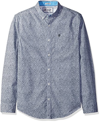original-penguin-mens-long-sleeve-mini-floral-with-stretch-dark-sapphire-small