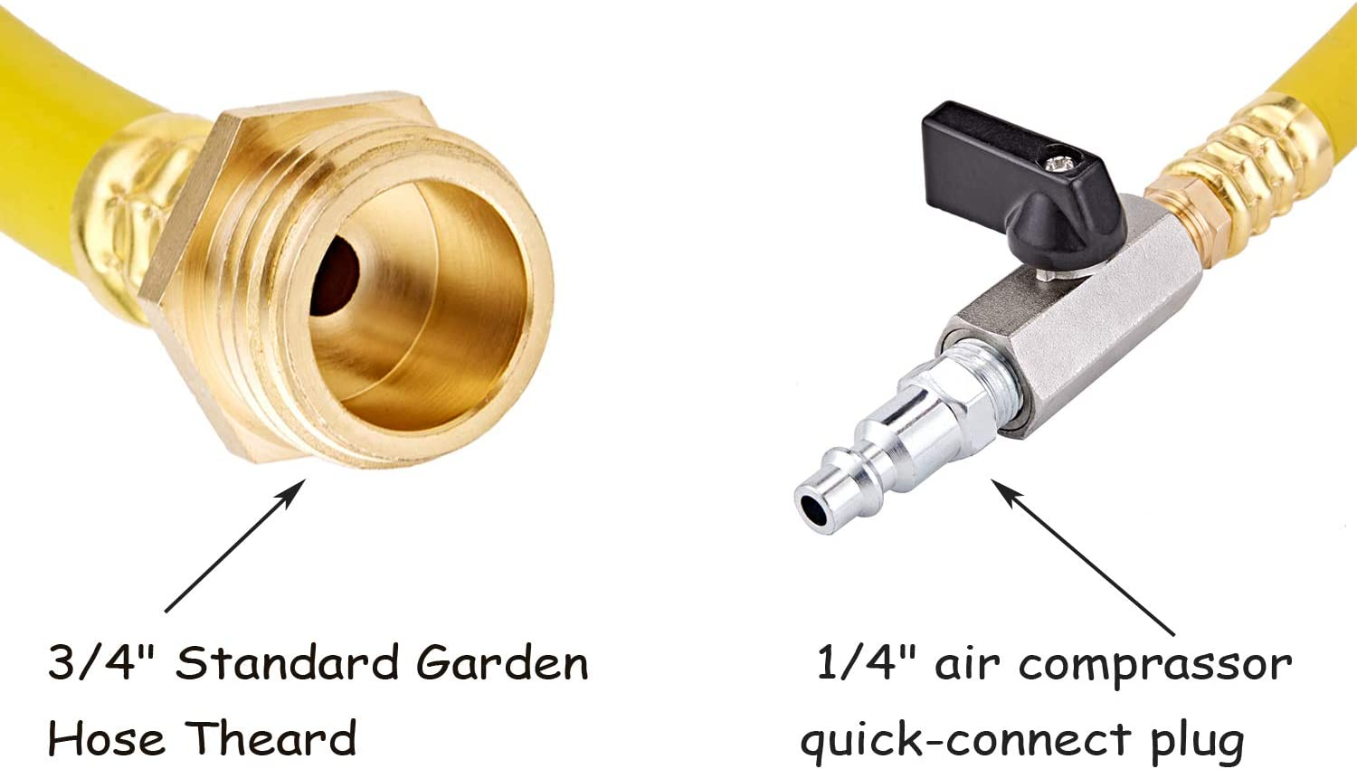 Air Compressor Quick Connect Plug Water Blow Out Adapter Fitting with Valve for Winterize Sprinkler System Cpwuflyd RV winterizing kit/& Blowout Plug