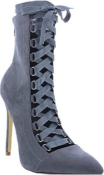 371ad60f725c Liliana Shoes Women s Lace-Up Pump Bootie Grey Gisele 61 Size 5.5
