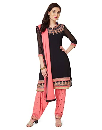 9c3a44d1 Sheknows Black Georgette Unstitched Patiala Salwar Suit: Amazon.in: Clothing  & Accessories