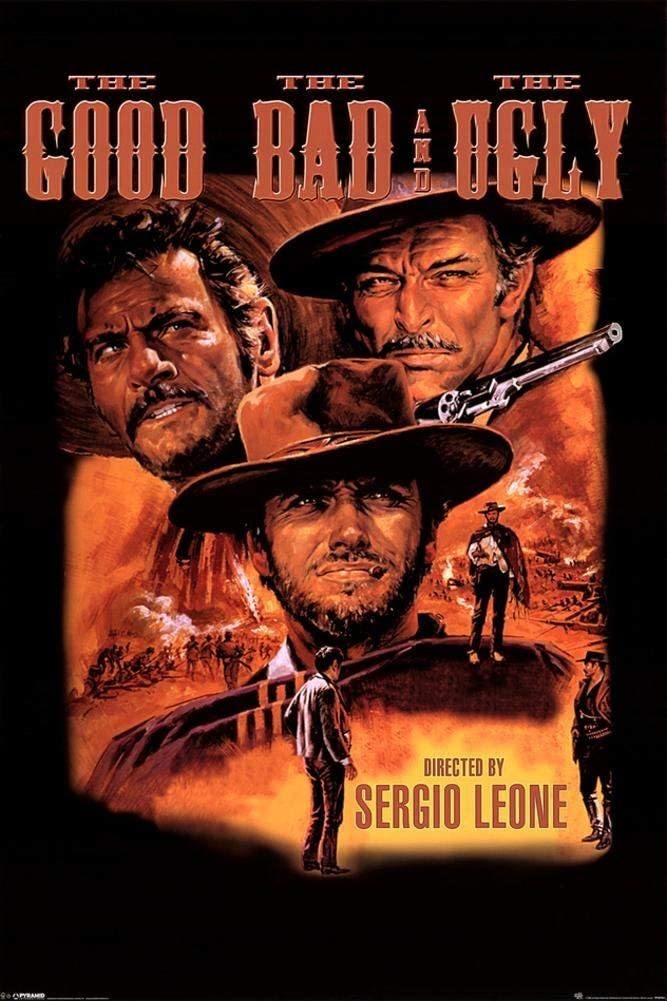 Laminated Good, Bad and Ugly Cowboys Western Movie Poster 24x36 inch