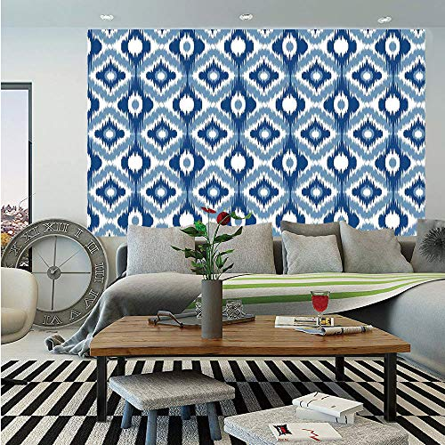 SoSung Ikat Removable Wall Mural,Ethnic Ikat Design with Regular Multi Shaft Loom Uneven Twill Trend Motif Decorative,Self-Adhesive Large Wallpaper for Home Decor 66x96 inches,Dark Blue and White