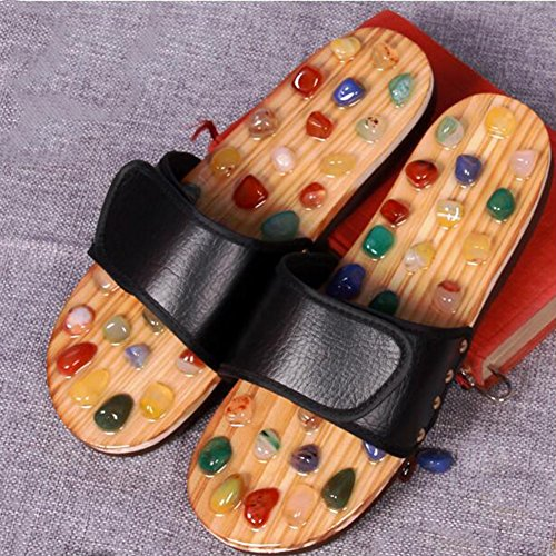 FJY Foot Massage Slippers Shoe Foot Care Reflexology Sandals With Natural Acupuncture Stones Mules Promote Blood Circulation and Improve Metabolism CM006,Professional Edition, black, 39/40 EU by FJY (Image #4)