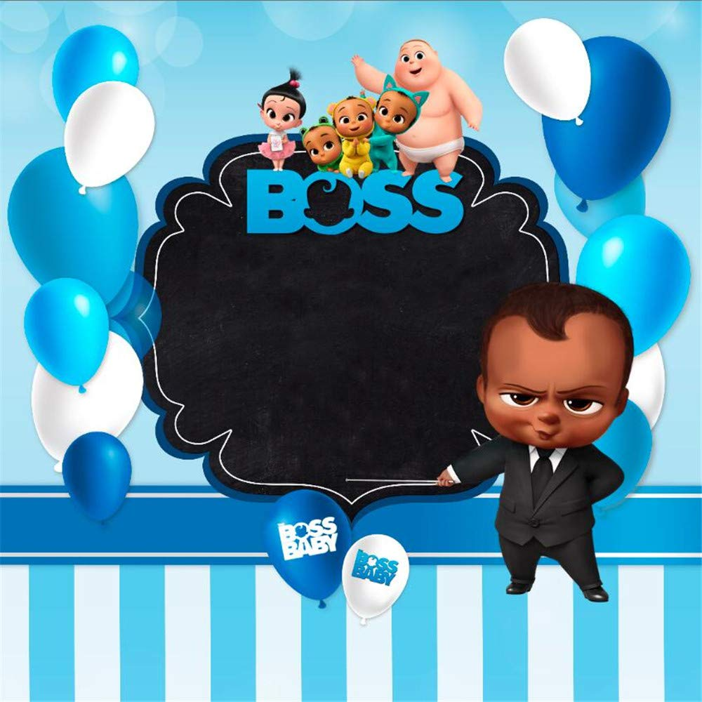 Photography Backdrop Boss Baby Theme Baby Shower Background Tabletop 5x7 Blue Balloons Black Banner With White Stripes 1st Birthday Backgrounds For