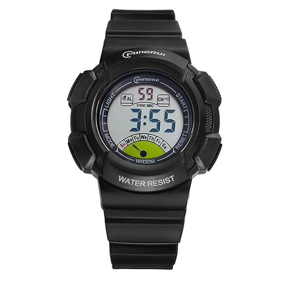 [Niño] Reloj Digital Resistente al Agua [Movimiento] Luminoso Estudiantes Reloj Pin Hebilla Correa -E: Amazon.es: Relojes