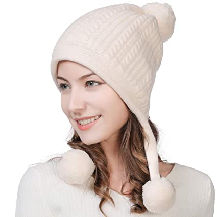 Fancet Womens 67% Wool Knit Peruvian Beanie Snow Winter Hat Ski Warm Cap  Earflap Pom ffbb795c4c45