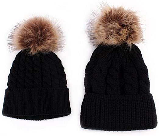 2PCS Cute Mother Baby Matching Fur Pom Bobble Hat Winter Warm Beanie Knitted Cap