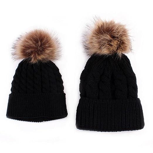 c34746fd6c4 MIOIM 2PCS Parent-Child Hat Warmer Family Winter Warm Matching Hat with Pom  Pom Crochet