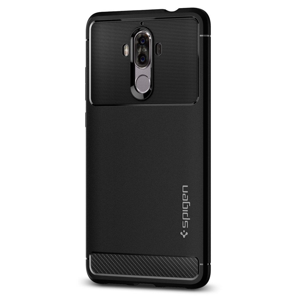 Spigen Rugged Armor Huawei Mate 9 Case with Resilient Shock Absorption and Carbon Fiber Design for Huawei Mate 9 (2016) - Black