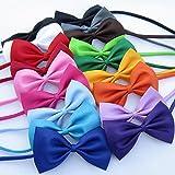 Mix Colors Wholesale 100pcs/lot Pet Grooming Accessories Rabbit Cat Dog Bow Tie Adjustable Bowtie Multicolor Polyester & Cotton