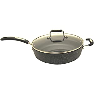 "THE ROCK by Starfrit 060705-002-0000 11"" Deep Fry Pan with Bakelite Handle,Black"