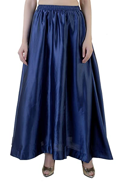 7410ccc1d Navy Blue Satin Long Skirt for Women and Girls from Khazana Basics (Navy  Blue,