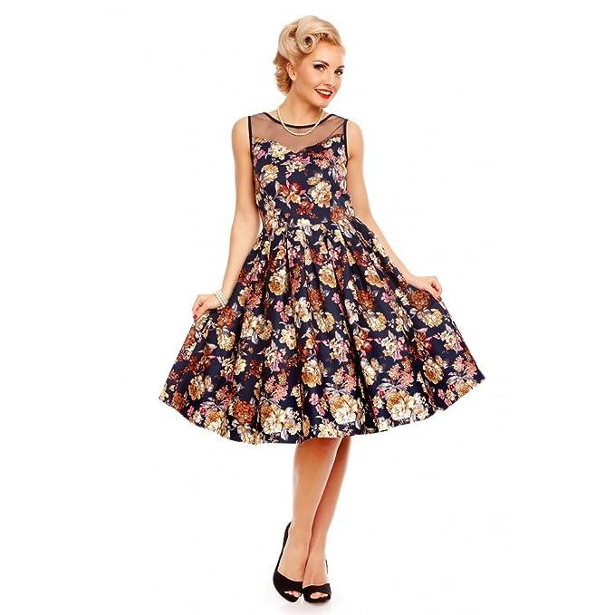 Vestido midi vintage print floral navy blue swing evening dress Elisabeth V724-2 (S