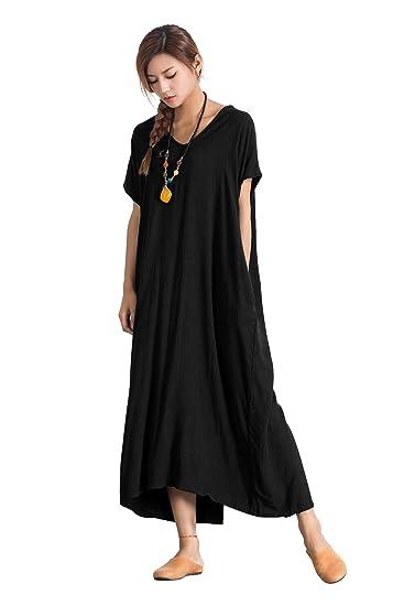 Grace Womens Linen Cotton Loose Simple Elegant Long Dress Plus Size