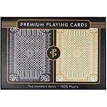 Black & Gold Premium Plastic Playing Cards, Set of 2, Poker Size Deck (Standard Index)