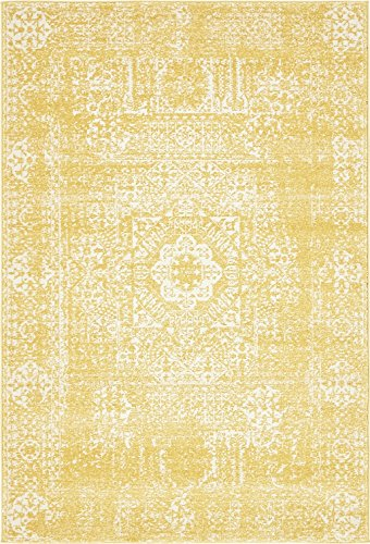 A2Z Rug Modern and Traditional Inspired Overdyed Design Rugs - Yellow 4' x 6'-Feet - santorini Collection Area rug - Contemporary Living Dinning & Bedroom Floor Carpet