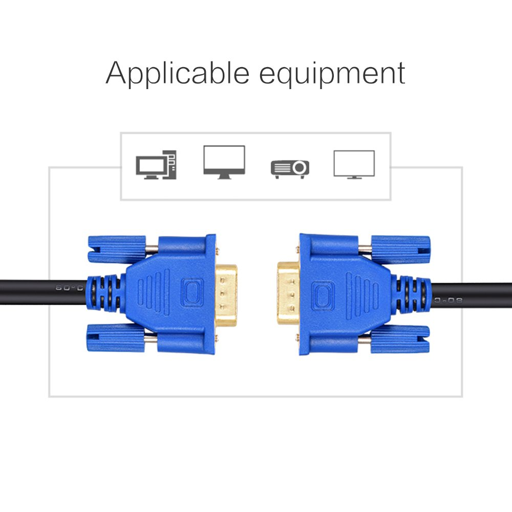 Aubess VGA to VGA Cable 1.5 Meters//3 Meters//5 Meters//10 Meters Extension Cable Video Monitor Cable Compatible Projector