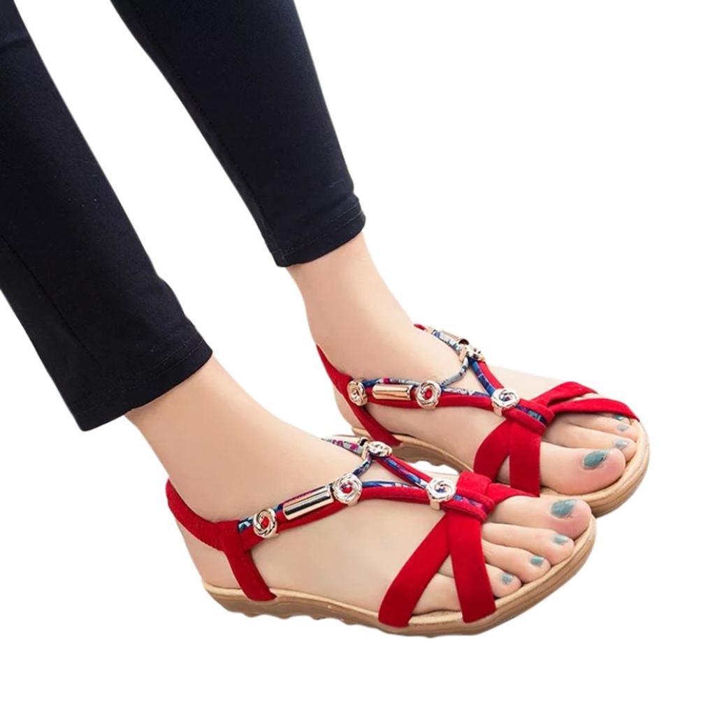 Women Fashion Summer Sandals Shoes Peep-Toe Low Shoes Roman Sandals Boho Flip Flops B07D7464YY 40 M EU|Red
