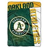 MLB Oakland Athletics Strike Plush Raschel Blanket, Green, 60 x 80-Inch
