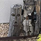 SIGMALL Garden Tree Face Sculpture Decor - Funny Outdoor Yard Art Resin Tree Tank Face Statue Decoration (Small Mouth Tree Face)