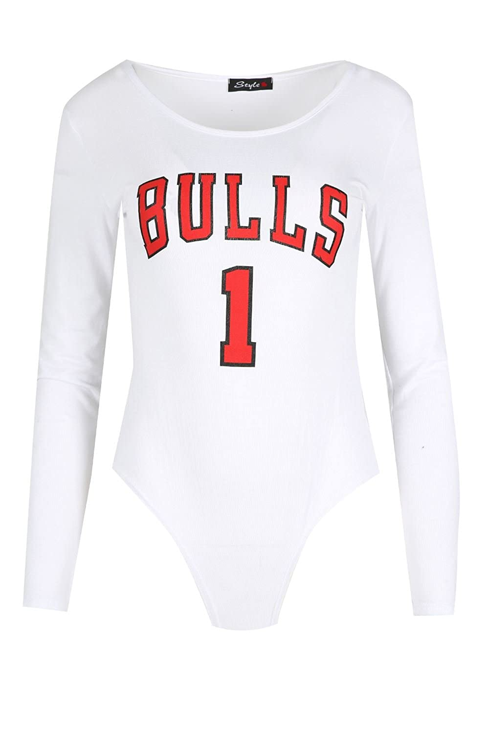 Be Jealous Womens Varsity USA BULLS 1 Bodysuit Vest Full Sleeves Leotard Top