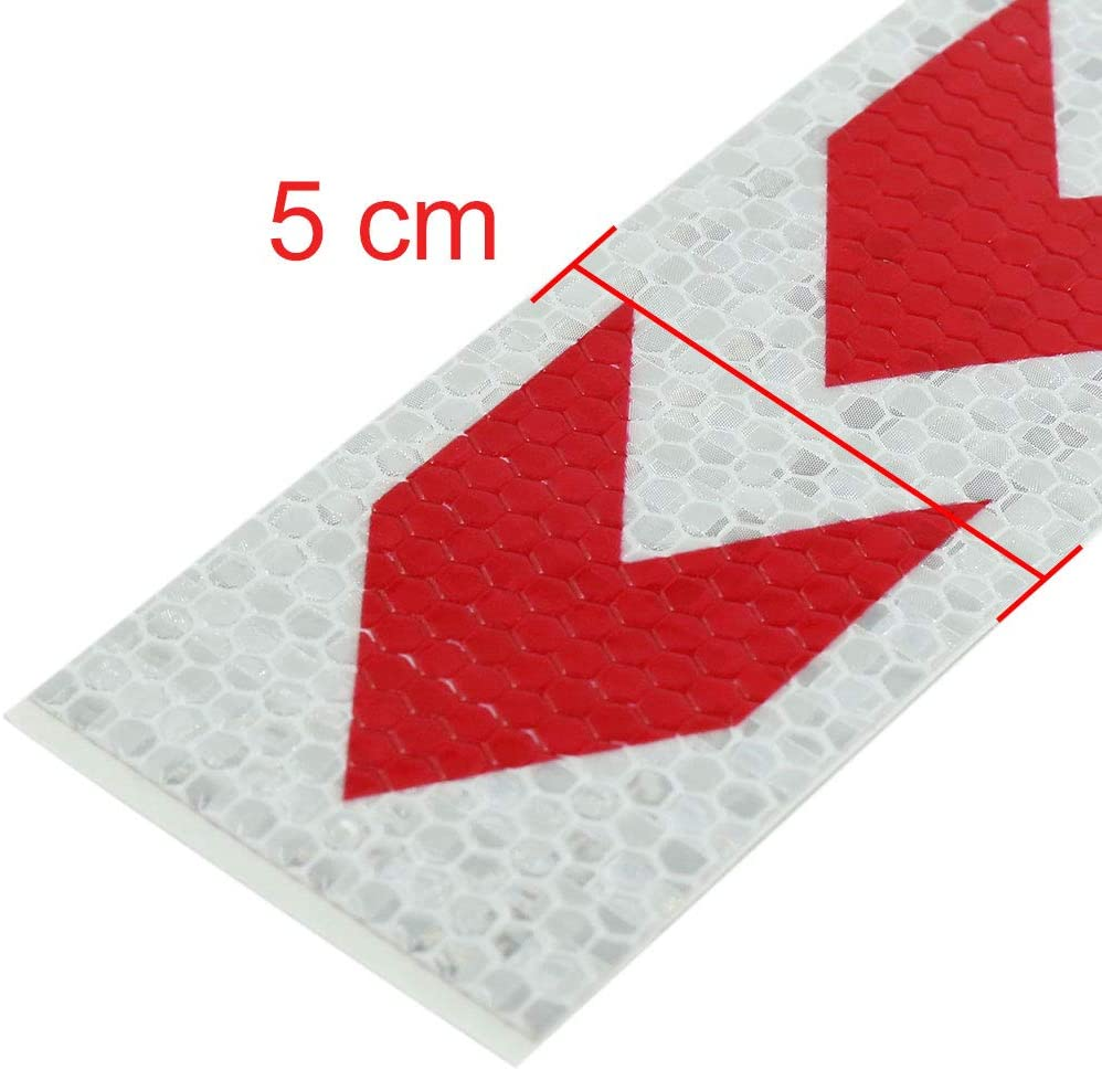 uxcell 6pcs Red White Car Reflective Self Adhesive Warning Tape Sticker Decal