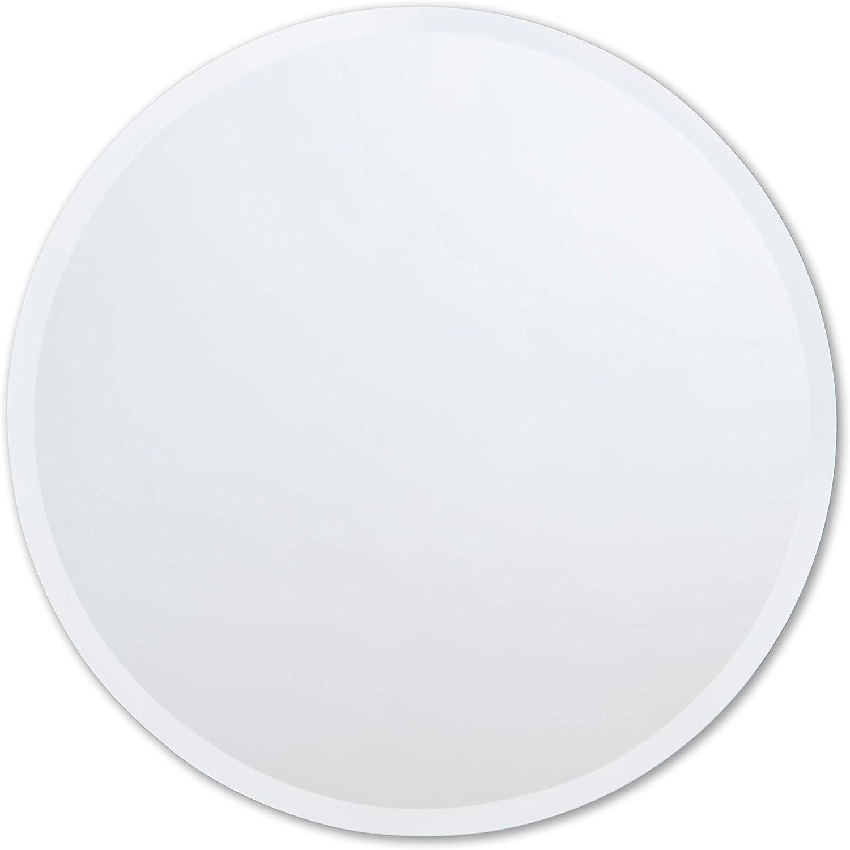 "Better Bevel 36"" x 36"" Frameless Round Mirror | 1"" Beveled Edge | Bathroom Wall Mirror"