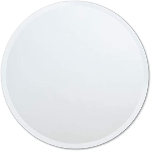 The Better Bevel Round Frameless Wall Mirror Bathroom, Vanity, Bedroom Mirror 24-inch Diameter Circle Beveled Edge