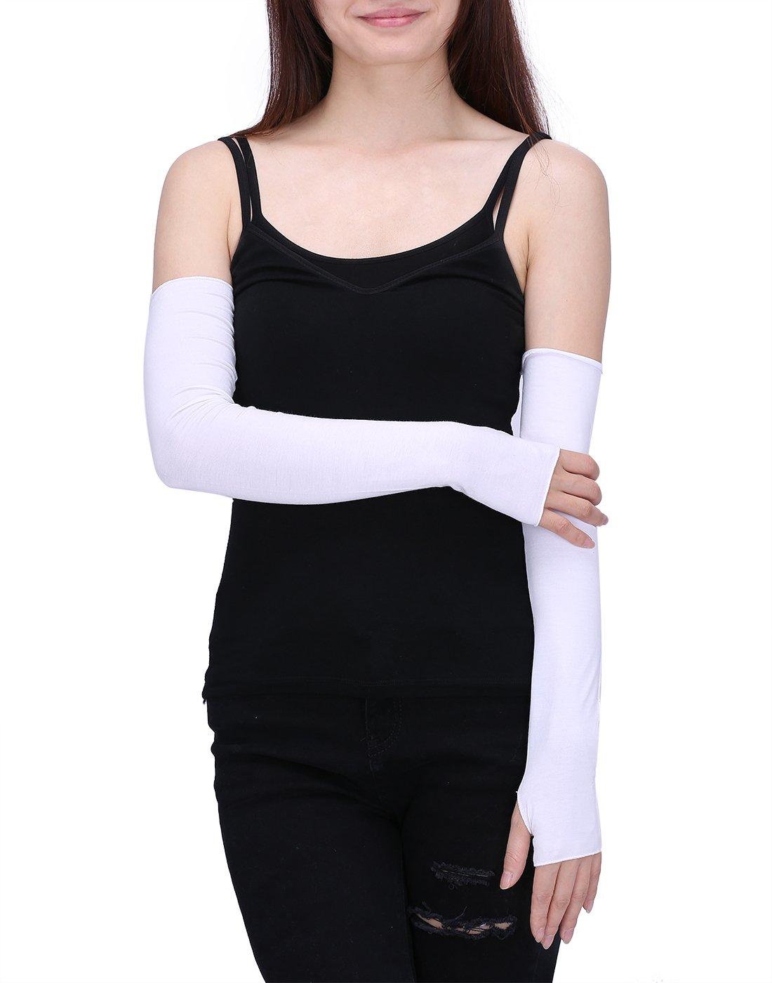 HDE Women Fingerless Long Gloves Thumbhole Arm Warmer Sleeve Elbow Length (White)